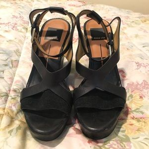 Dolce Vita Black Leather and Suede Wedges